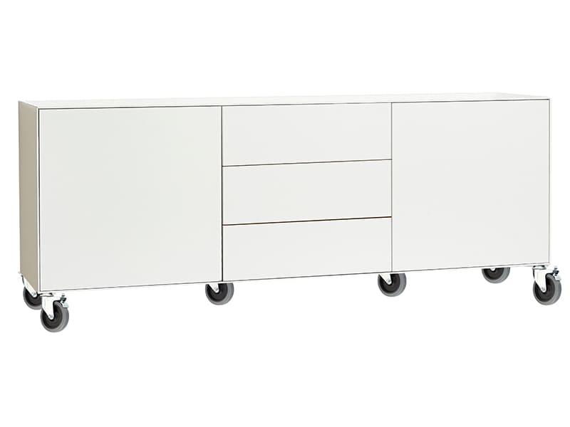 Sideboard mit Rollen in weiß